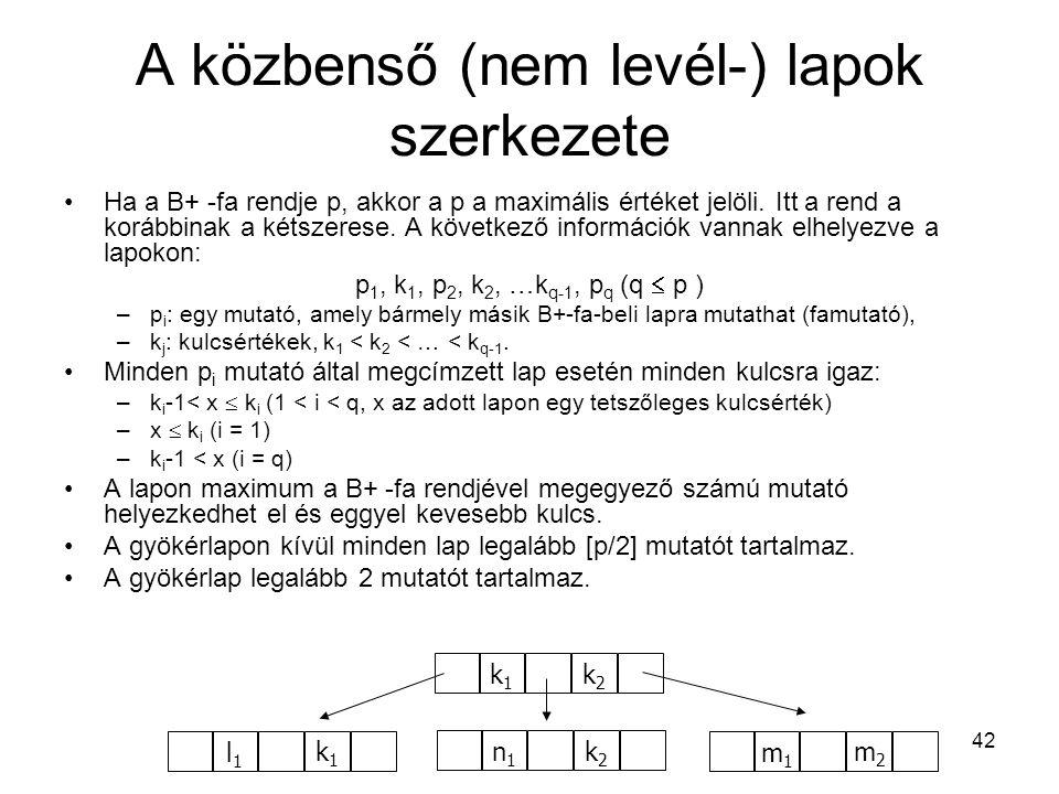 A közbenső (nem levél-) lapok szerkezete