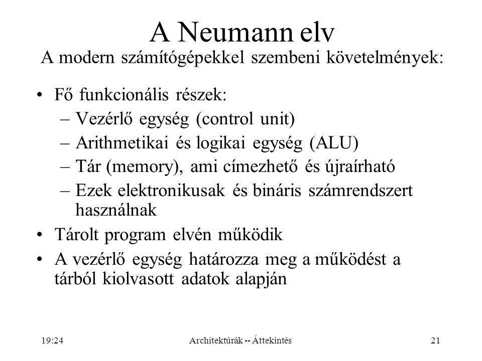 A Neumann elv A modern számítógépekkel szembeni követelmények: