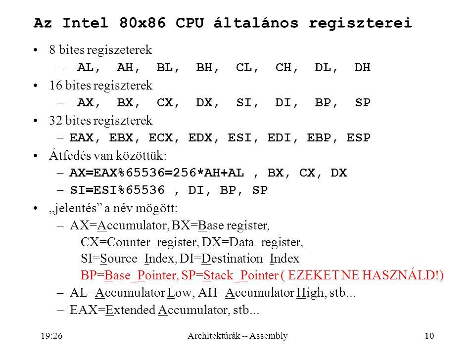 Az Intel 80x86 CPU általános regiszterei