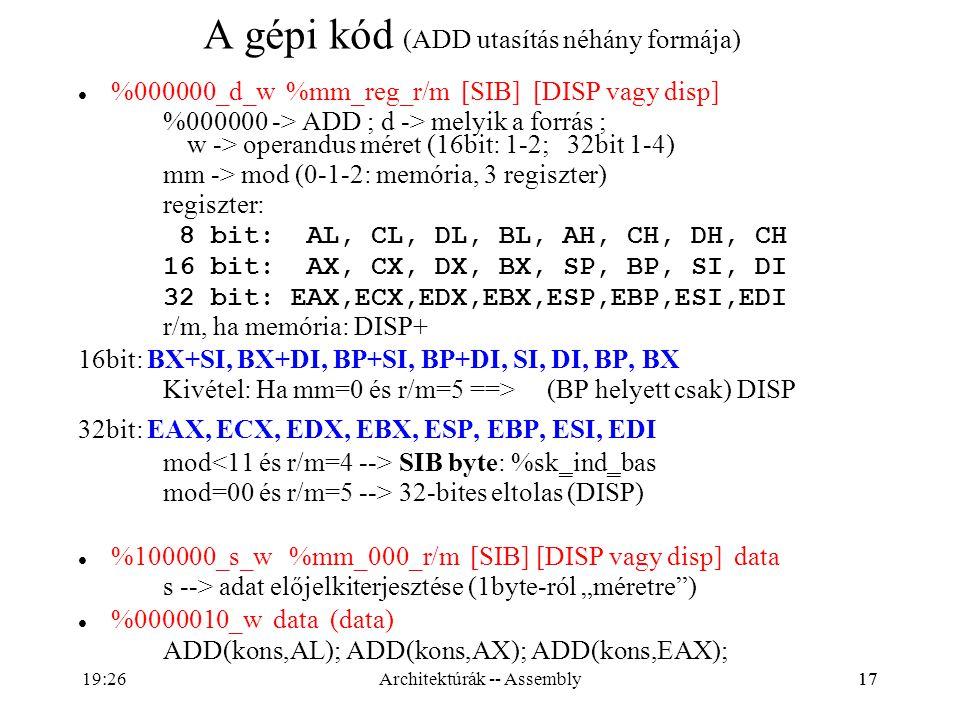 A gépi kód (ADD utasítás néhány formája)