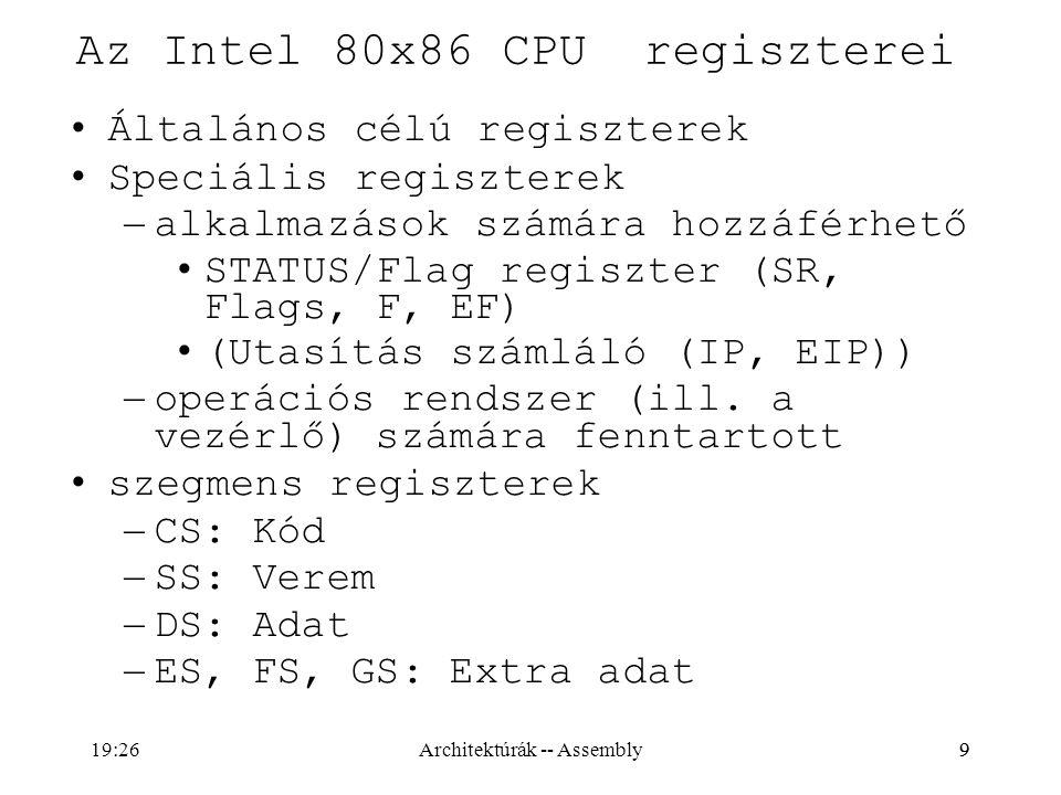 Az Intel 80x86 CPU regiszterei