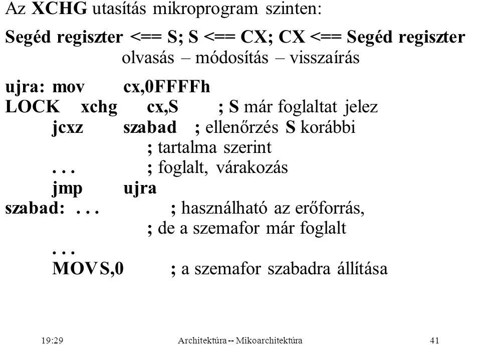 Az XCHG utasítás mikroprogram szinten: