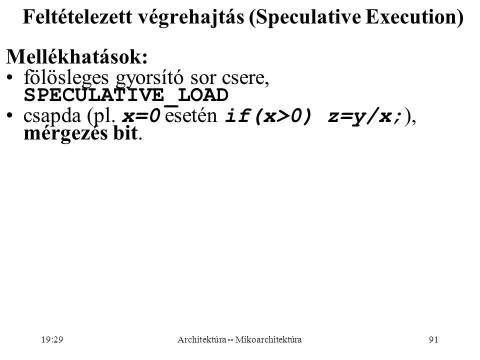 Feltételezett végrehajtás (Speculative Execution) Mellékhatások: