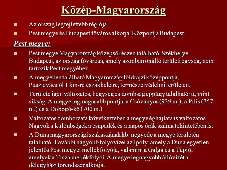 Közép-Magyarország Pest megye: Az ország legfejlettebb régiója.