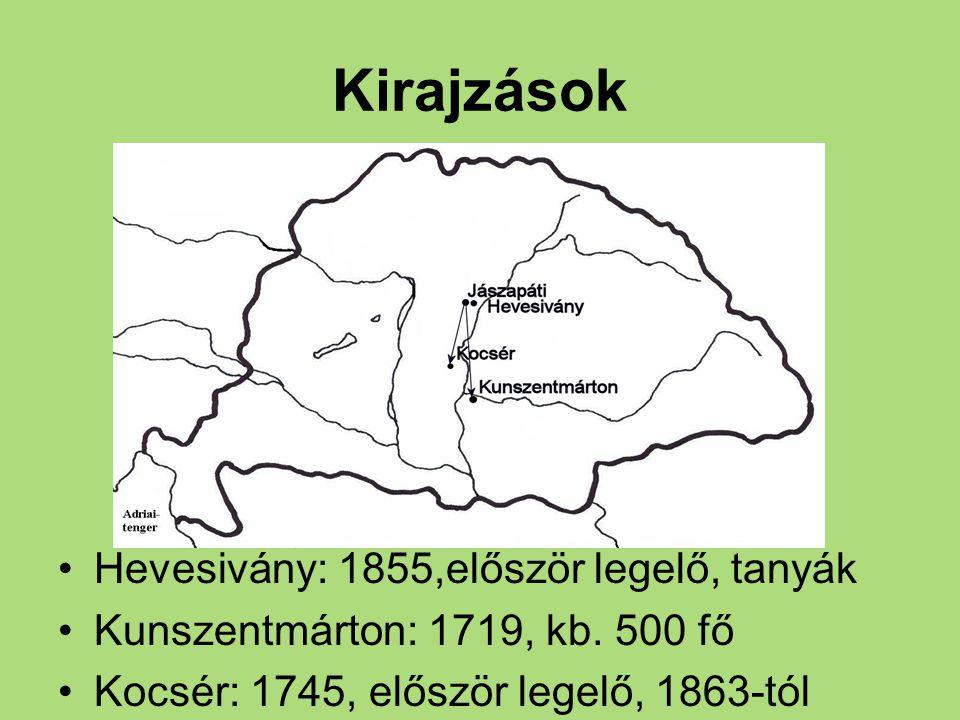 Kirajzások Hevesivány: 1855,először legelő, tanyák