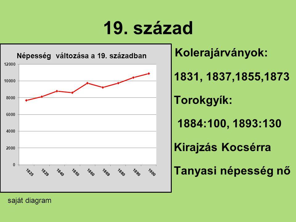 19. század Kolerajárványok: 1831, 1837,1855,1873 Torokgyík: