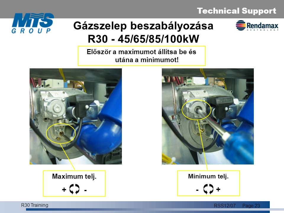 Gázszelep beszabályozása R30 - 45/65/85/100kW