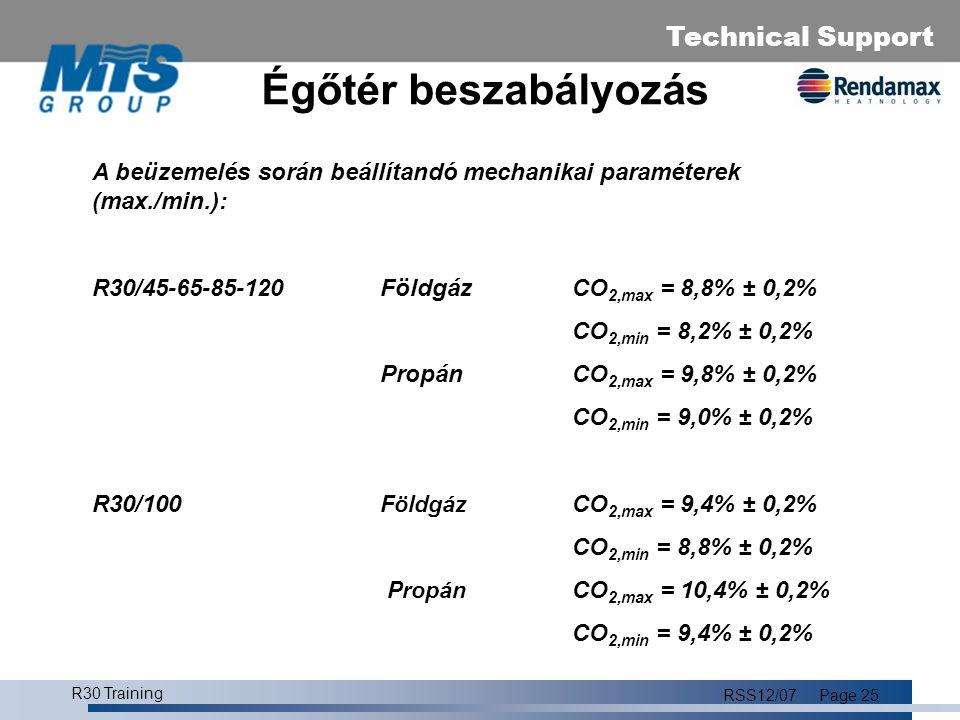 Égőtér beszabályozás A beüzemelés során beállítandó mechanikai paraméterek (max./min.): R30/45-65-85-120 Földgáz CO2,max = 8,8% ± 0,2%