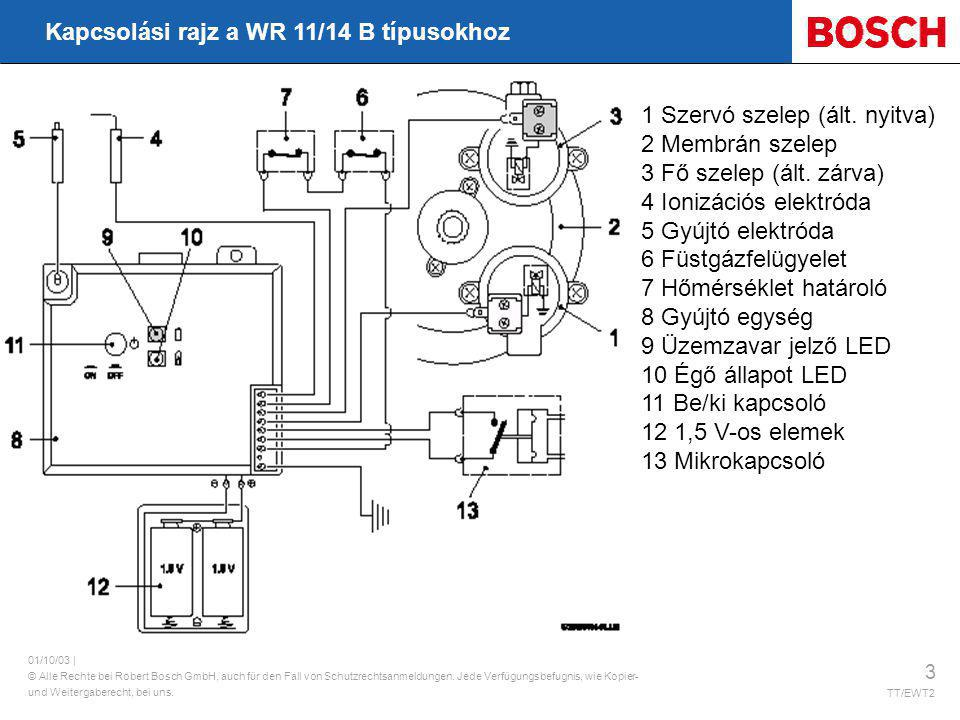 Kapcsolási rajz a WR 11/14 B típusokhoz