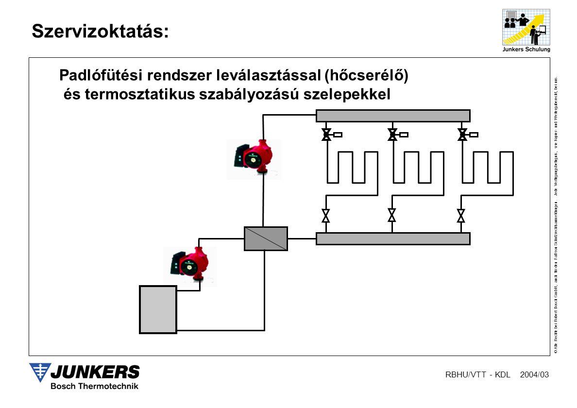 Padlófütési rendszer leválasztással (hőcserélő)