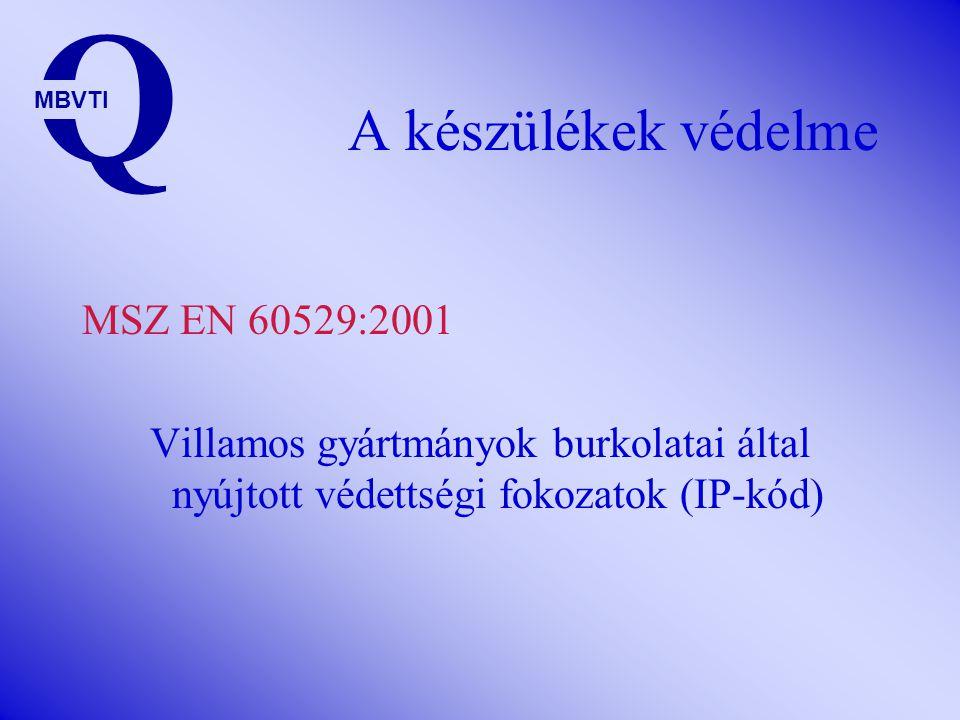 Q A készülékek védelme MSZ EN 60529:2001