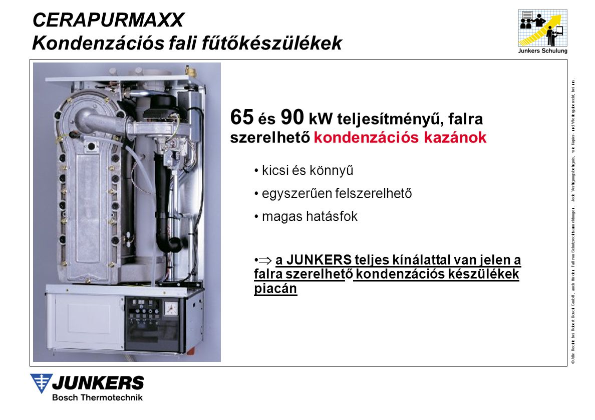 65 és 90 kW teljesítményű, falra szerelhető kondenzációs kazánok