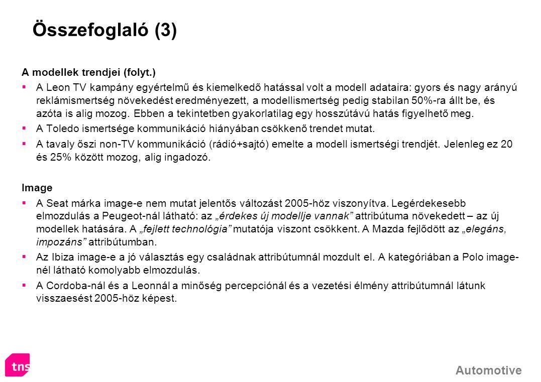 Összefoglaló (3) A modellek trendjei (folyt.)