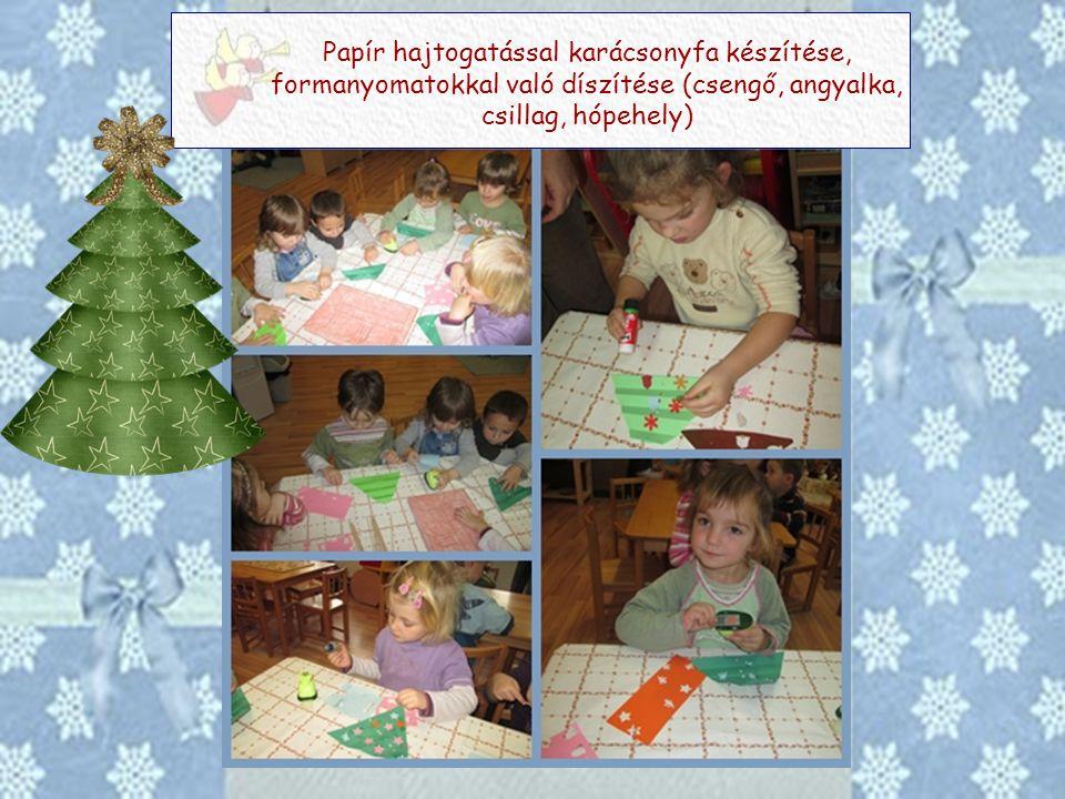 Papír hajtogatással karácsonyfa készítése, formanyomatokkal való díszítése (csengő, angyalka, csillag, hópehely)
