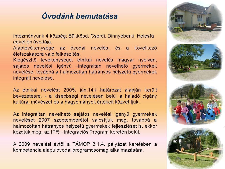 Óvodánk bemutatása Intézményünk 4 község; Bükkösd, Cserdi, Dinnyeberki, Helesfa egyetlen óvodája.