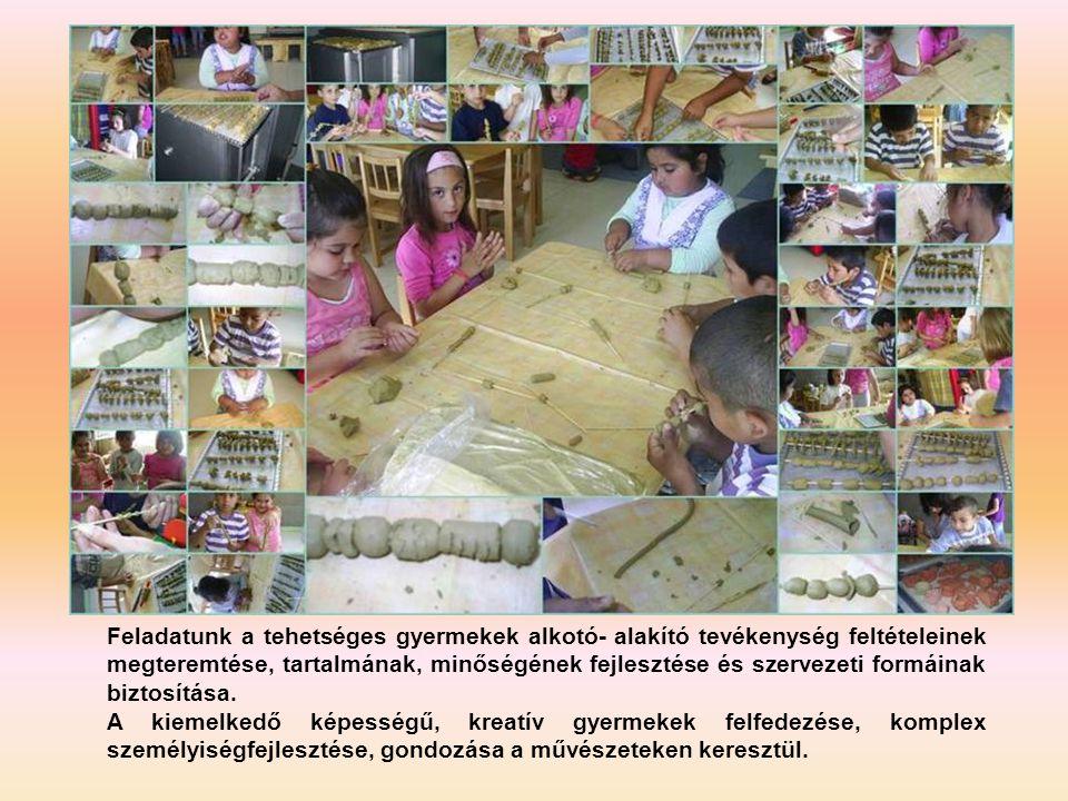 Feladatunk a tehetséges gyermekek alkotó- alakító tevékenység feltételeinek megteremtése, tartalmának, minőségének fejlesztése és szervezeti formáinak biztosítása.
