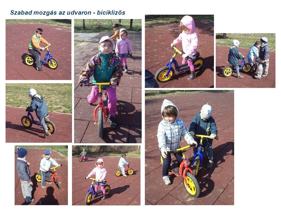 Szabad mozgás az udvaron - biciklizős