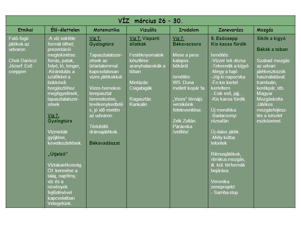 VÍZ március 26 – 30. Etnikai Élő-élettelen Matematika Vizuális
