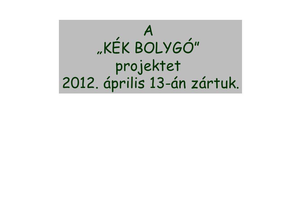 """A """"KÉK BOLYGÓ projektet 2012. április 13-án zártuk."""