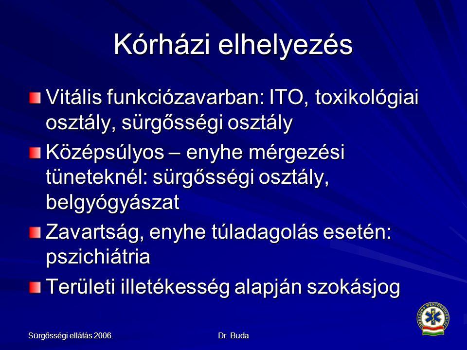 Kórházi elhelyezés Vitális funkciózavarban: ITO, toxikológiai osztály, sürgősségi osztály.