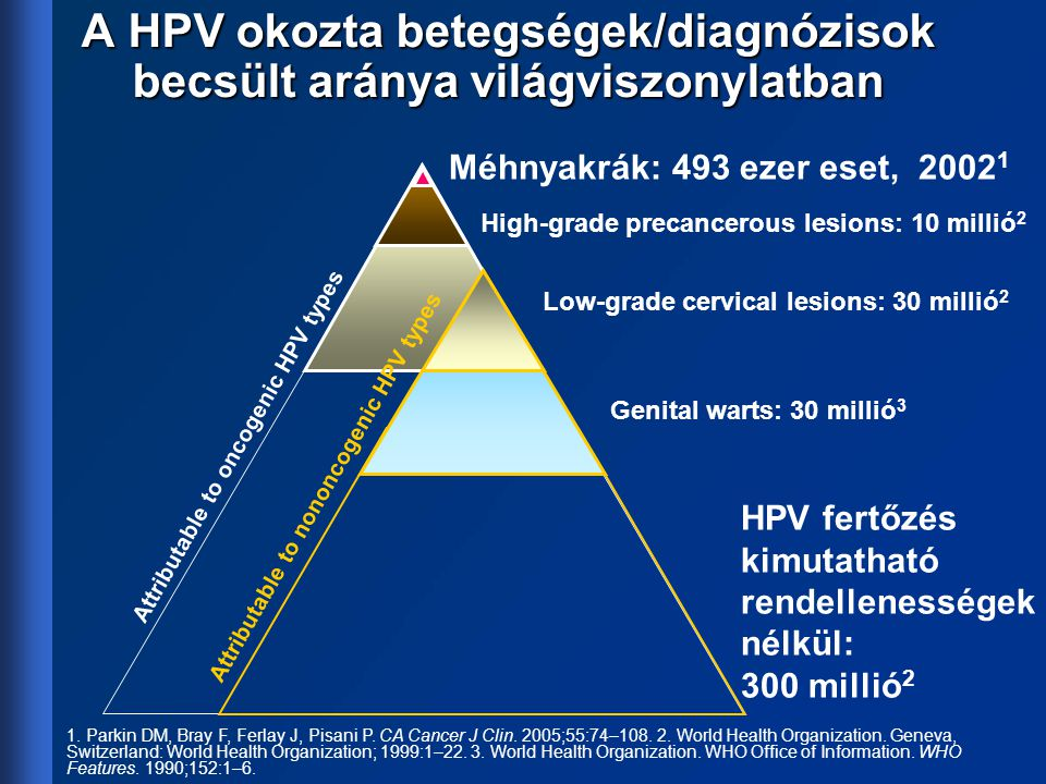 A HPV okozta betegségek/diagnózisok becsült aránya világviszonylatban