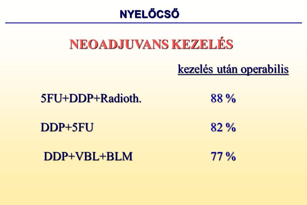 NEOADJUVANS KEZELÉS 5FU+DDP+Radioth. 88 % DDP+5FU 82 %