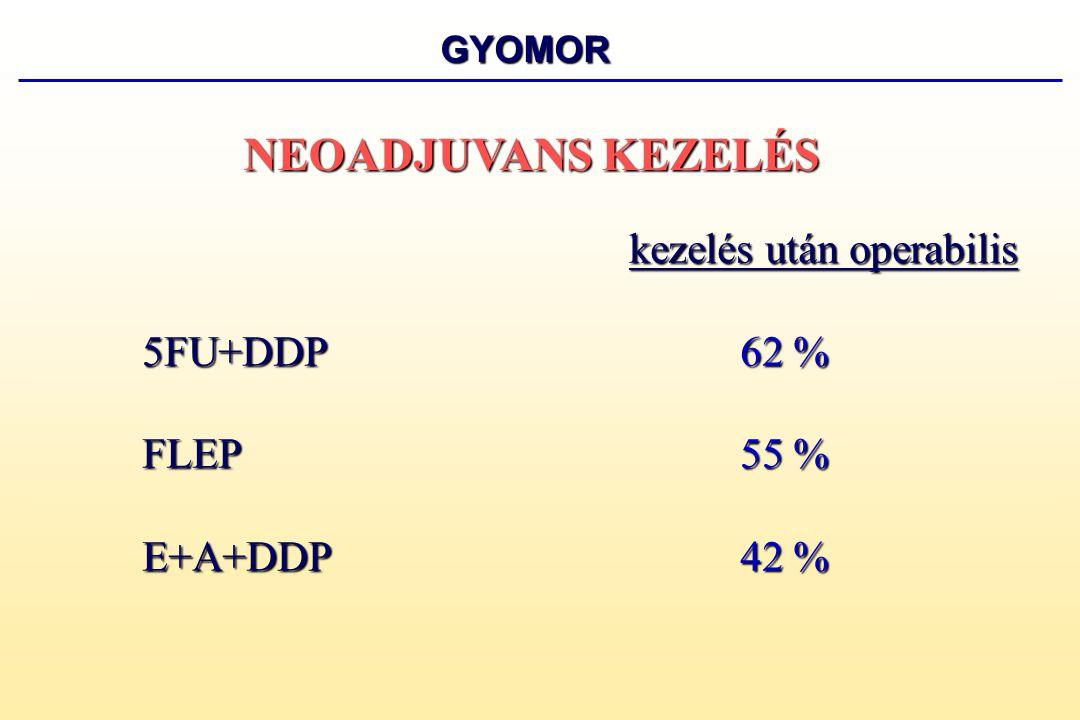 NEOADJUVANS KEZELÉS kezelés után operabilis 5FU+DDP 62 % FLEP 55 %