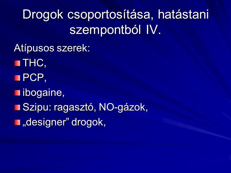 Drogok csoportosítása, hatástani szempontból IV.