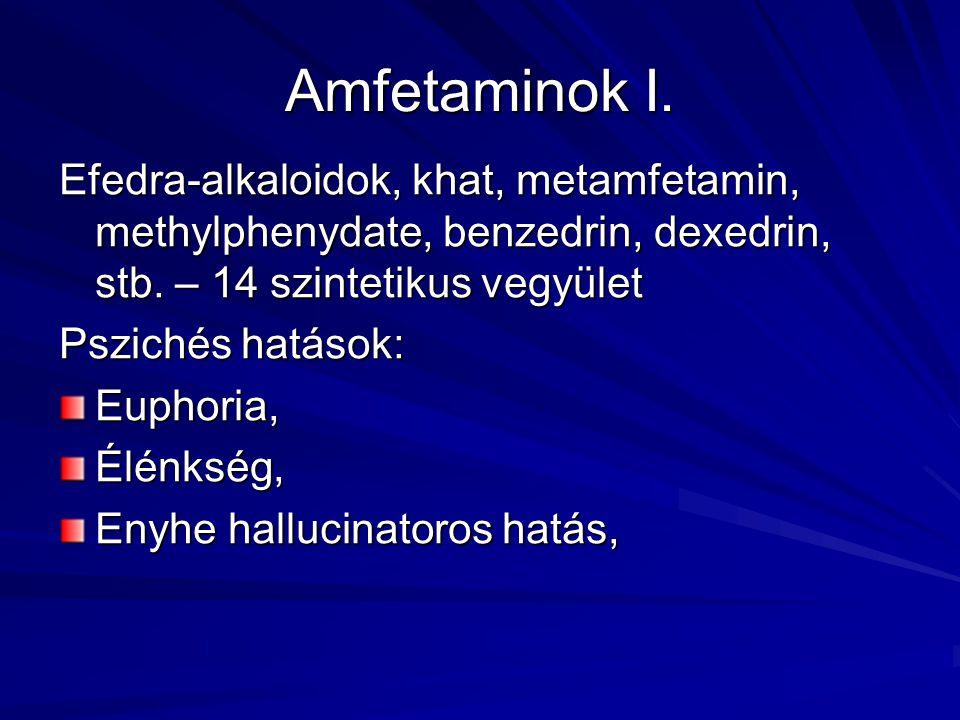 Amfetaminok I. Efedra-alkaloidok, khat, metamfetamin, methylphenydate, benzedrin, dexedrin, stb. – 14 szintetikus vegyület.