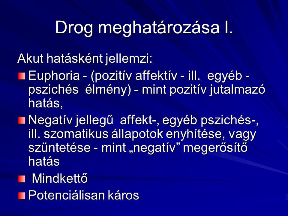 Drog meghatározása I. Akut hatásként jellemzi: