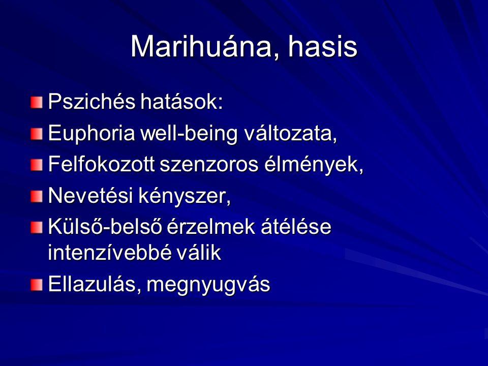 Marihuána, hasis Pszichés hatások: Euphoria well-being változata,