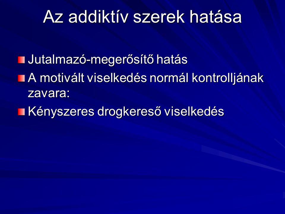 Az addiktív szerek hatása