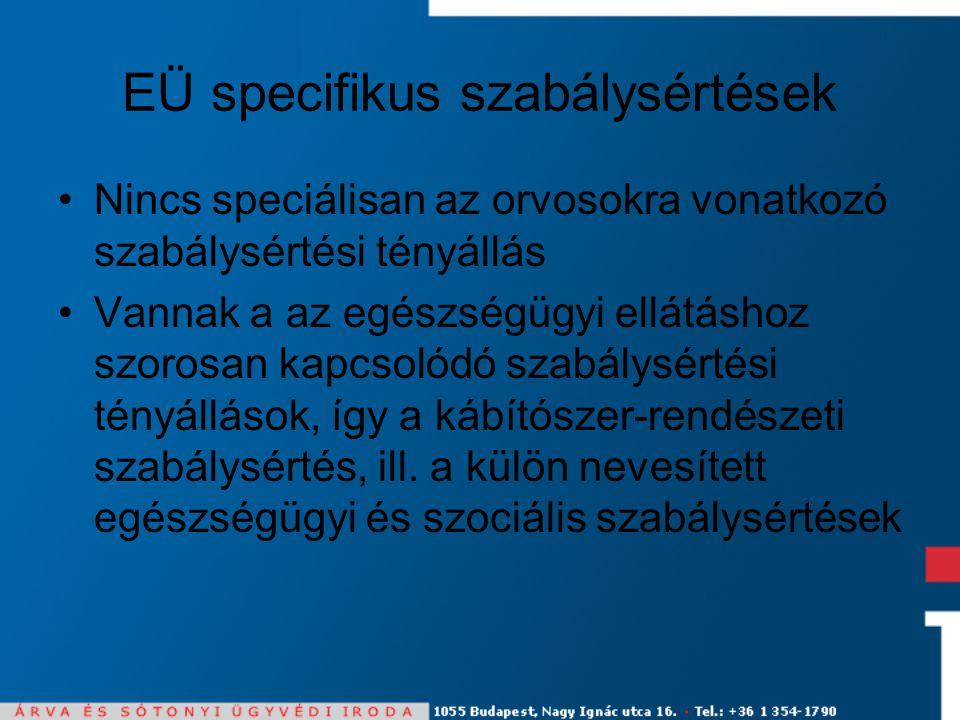 EÜ specifikus szabálysértések