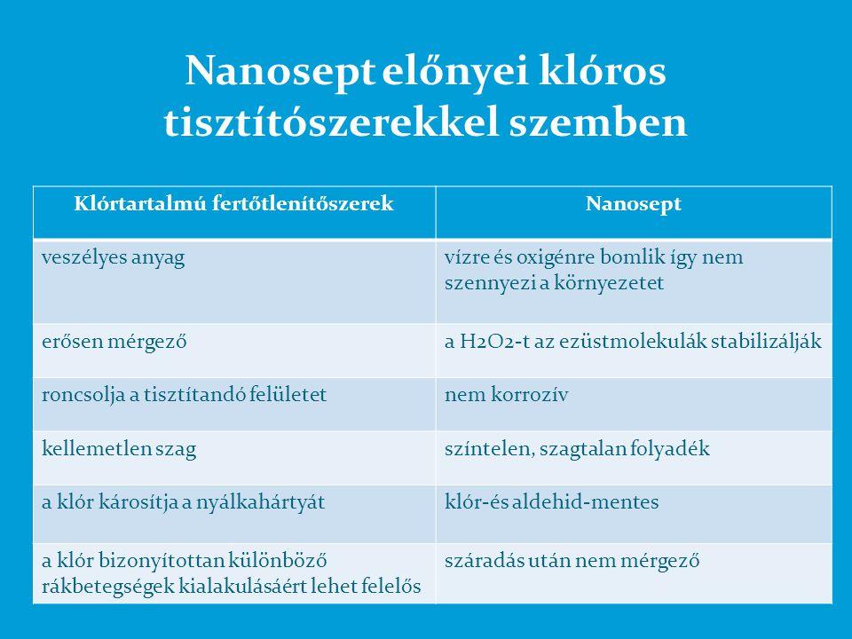 Nanosept előnyei klóros tisztítószerekkel szemben