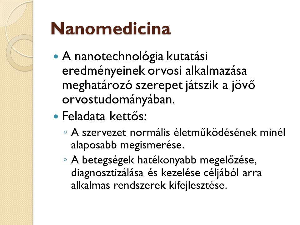 Nanomedicina A nanotechnológia kutatási eredményeinek orvosi alkalmazása meghatározó szerepet játszik a jövő orvostudományában.