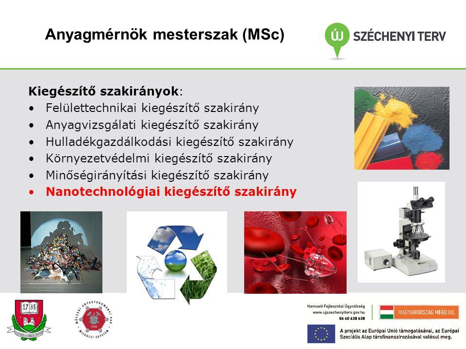 Anyagmérnök mesterszak (MSc)