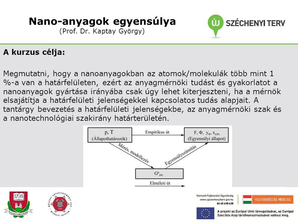 Nano-anyagok egyensúlya (Prof. Dr. Kaptay György)