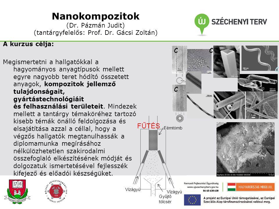 Nanokompozitok (Dr. Pázmán Judit) (tantárgyfelelős: Prof. Dr
