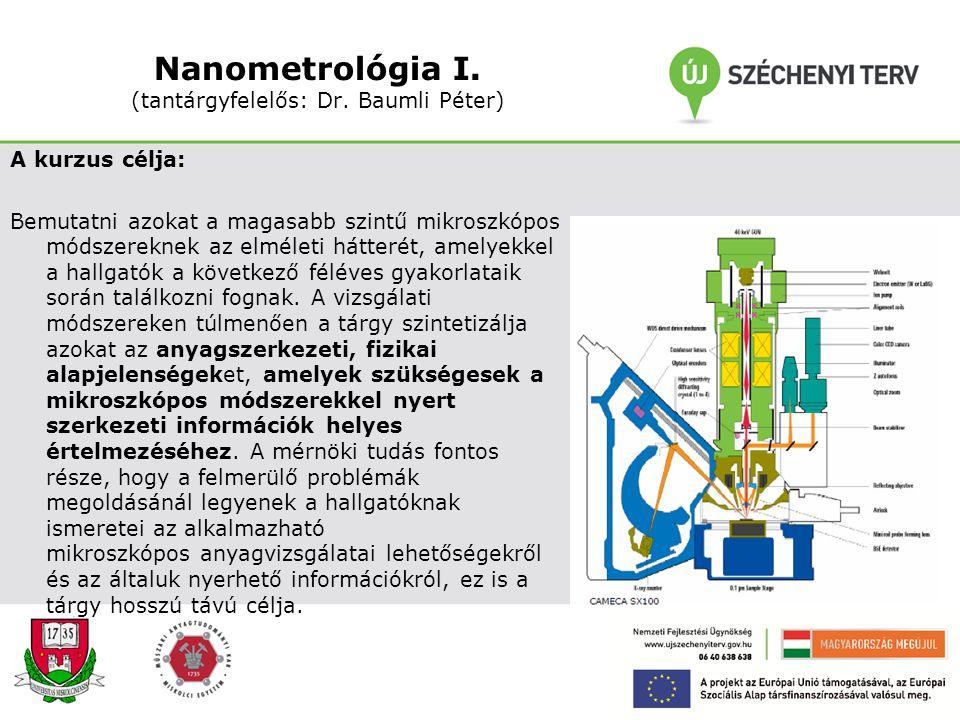 Nanometrológia I. (tantárgyfelelős: Dr. Baumli Péter)