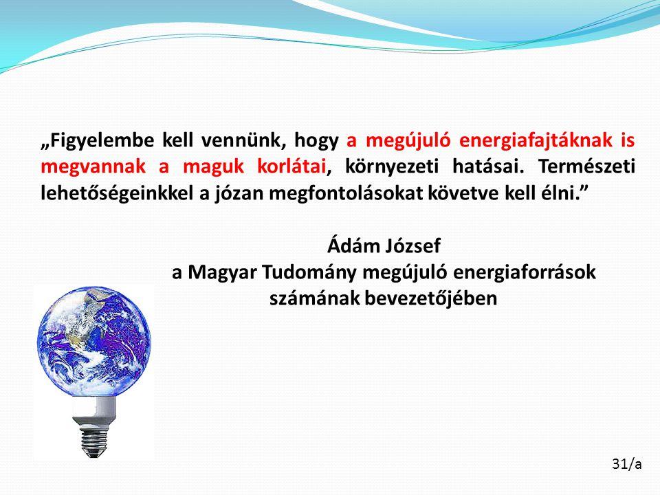 a Magyar Tudomány megújuló energiaforrások számának bevezetőjében