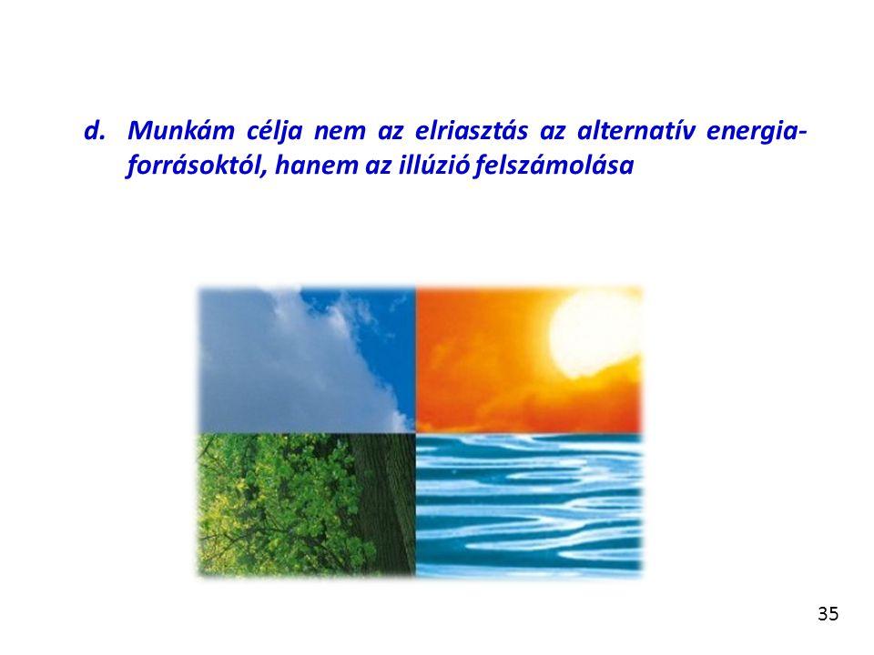 Munkám célja nem az elriasztás az alternatív energia-forrásoktól, hanem az illúzió felszámolása