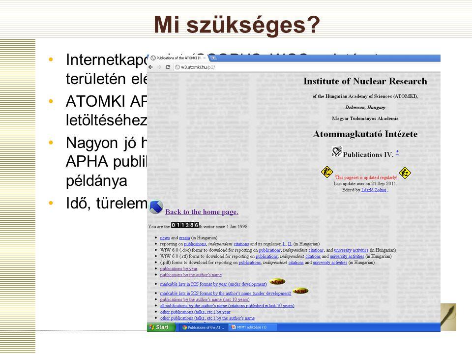 Mi szükséges Internetkapcsolat (SCOPUS, WOS az intézet területén elérhető)