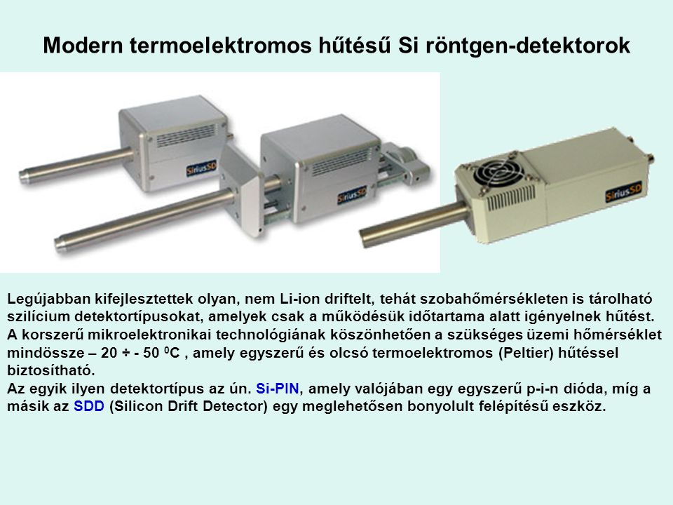 Modern termoelektromos hűtésű Si röntgen-detektorok