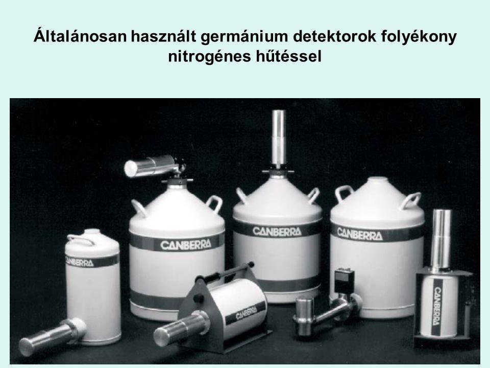 Általánosan használt germánium detektorok folyékony nitrogénes hűtéssel