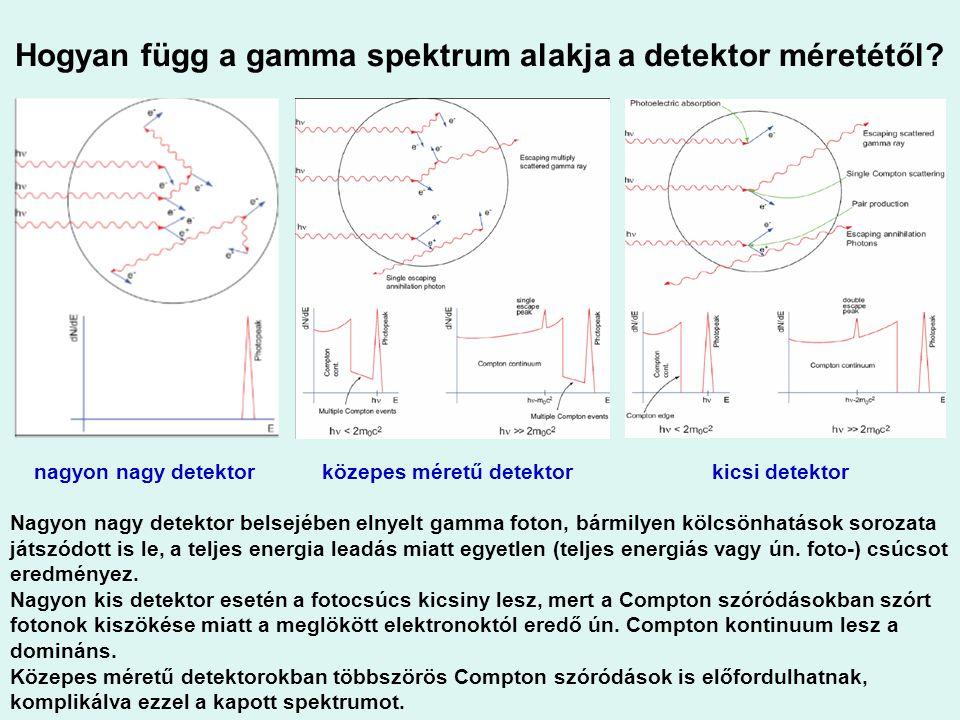 Hogyan függ a gamma spektrum alakja a detektor méretétől