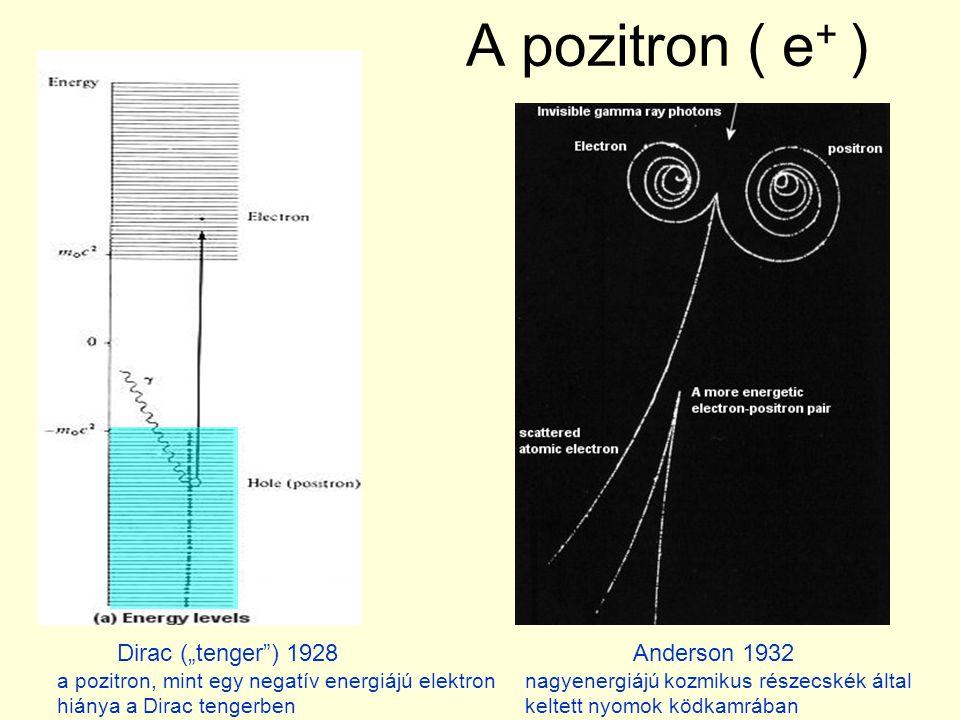 """A pozitron ( e+ ) Dirac (""""tenger ) 1928 Anderson 1932"""
