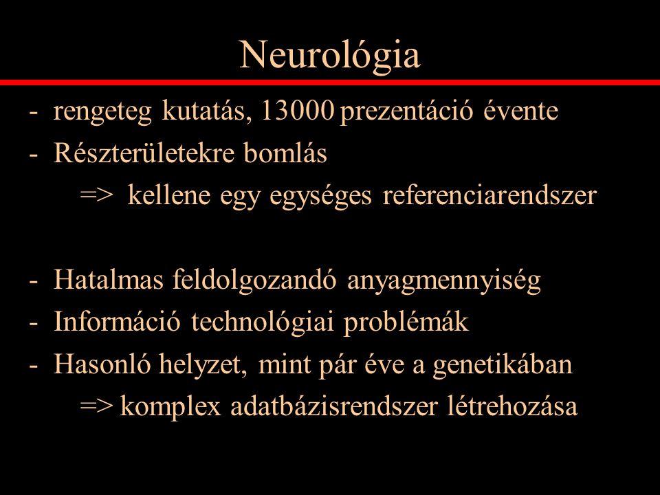 Neurológia rengeteg kutatás, 13000 prezentáció évente