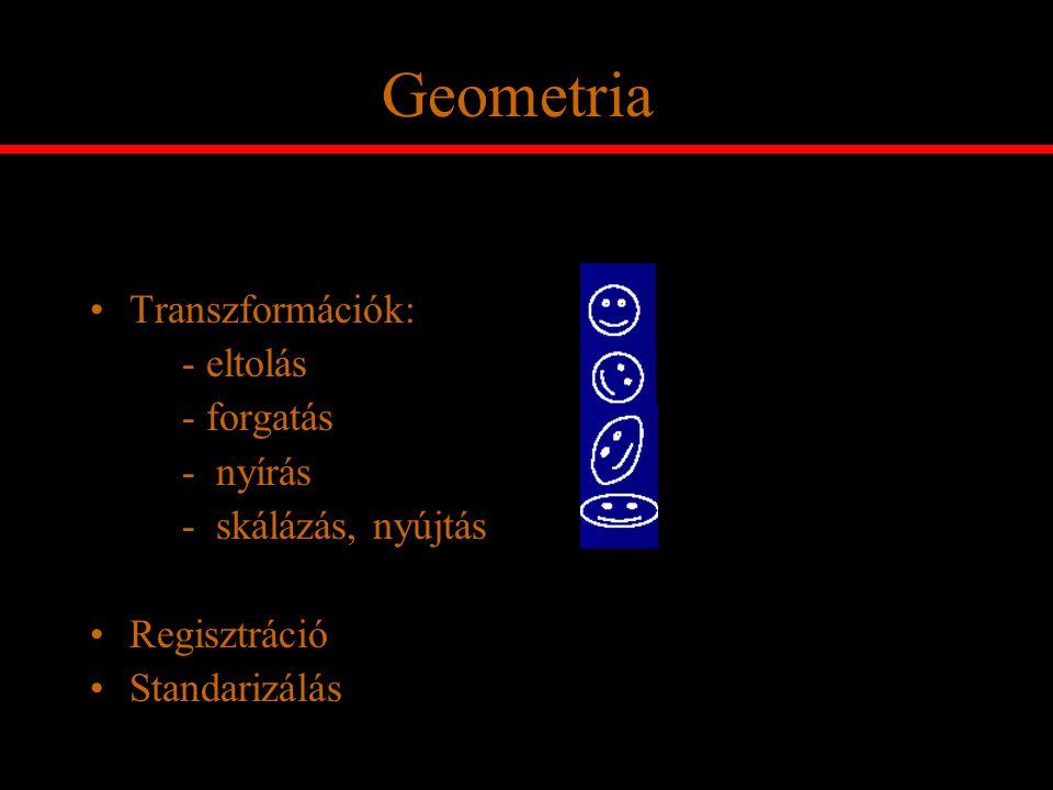 Geometria Transzformációk: - eltolás - forgatás - nyírás
