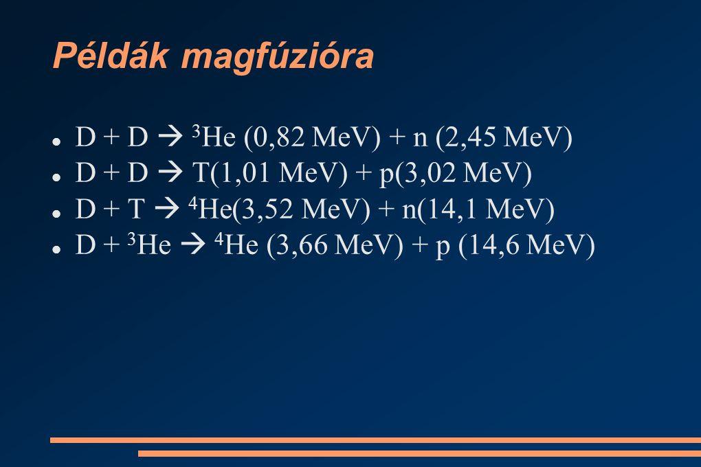 Példák magfúzióra D + D  3He (0,82 MeV) + n (2,45 MeV)
