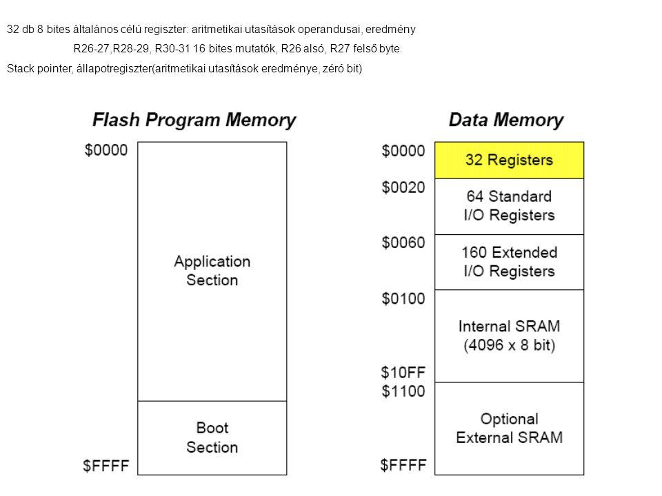 32 db 8 bites általános célú regiszter: aritmetikai utasítások operandusai, eredmény
